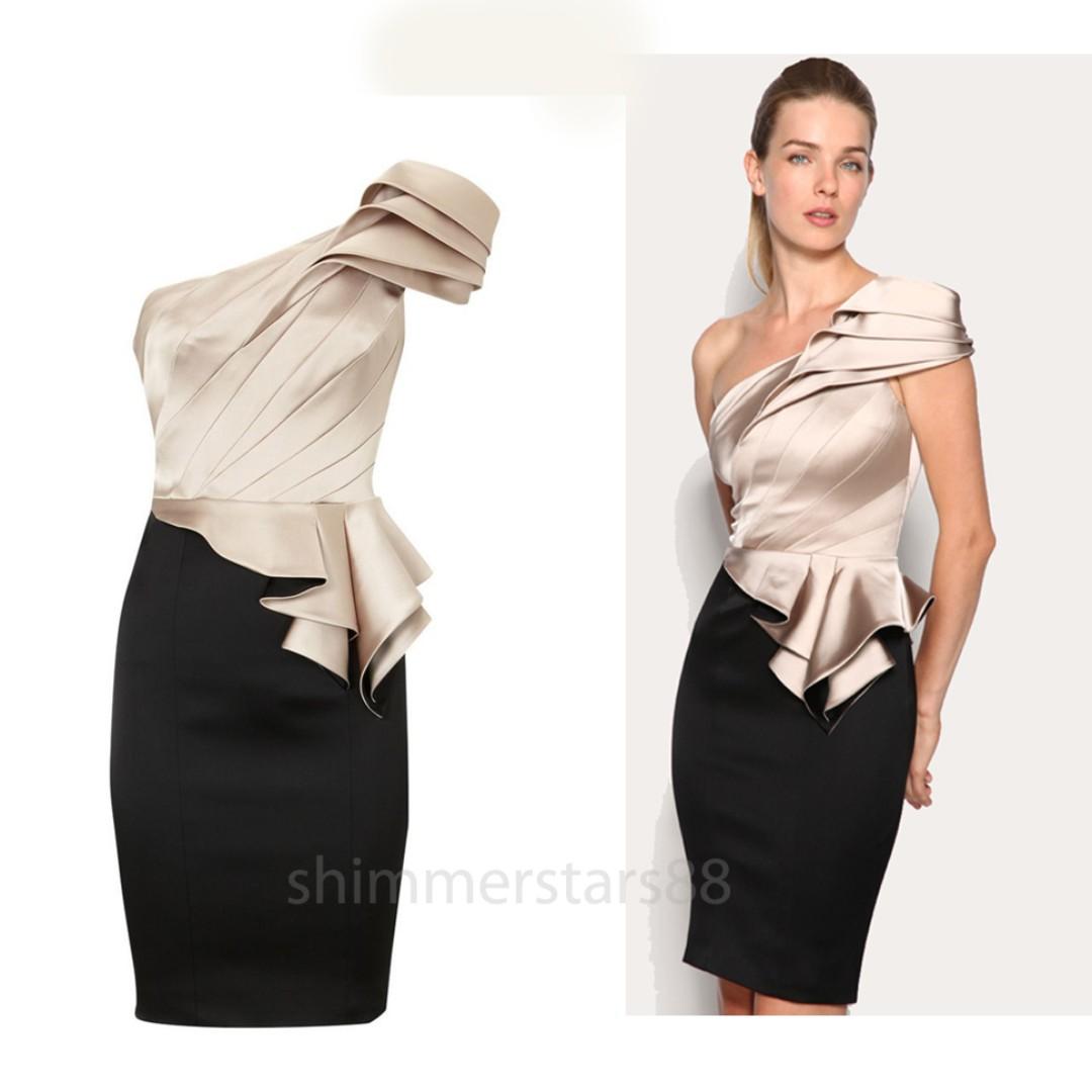 Karen Millen Peplum Satin One Shoulder Dress