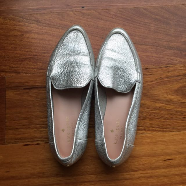 Kate spade carima flats silver size 6.5 loafer genuine