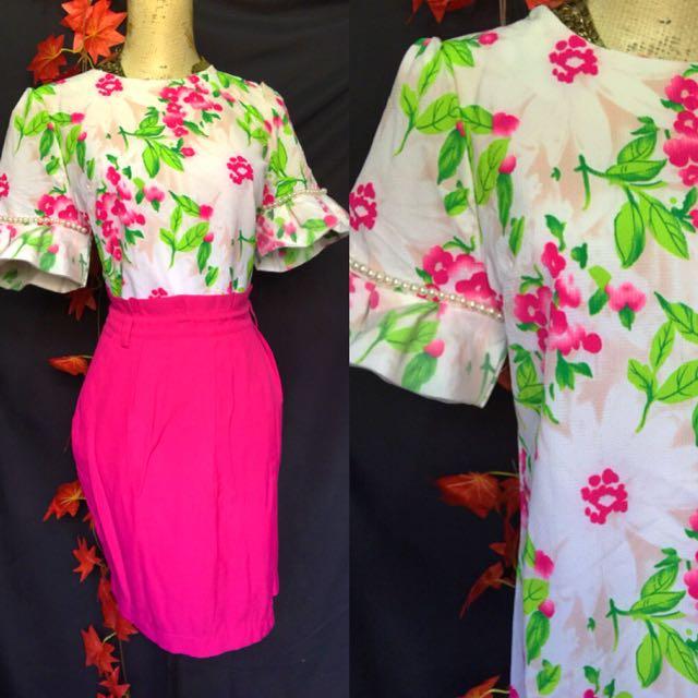 Korean top/highwaist skirt set size med