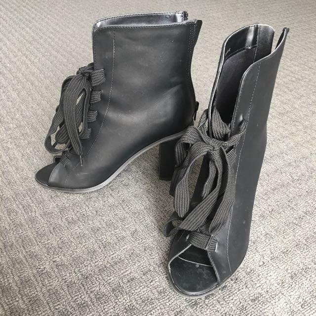 Lace Up Block Heels with Zip