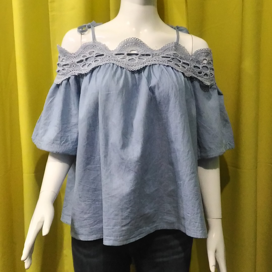 light blue cold shoulder top with tie straps