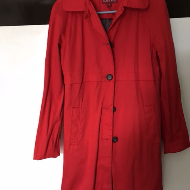 merona red trench coat