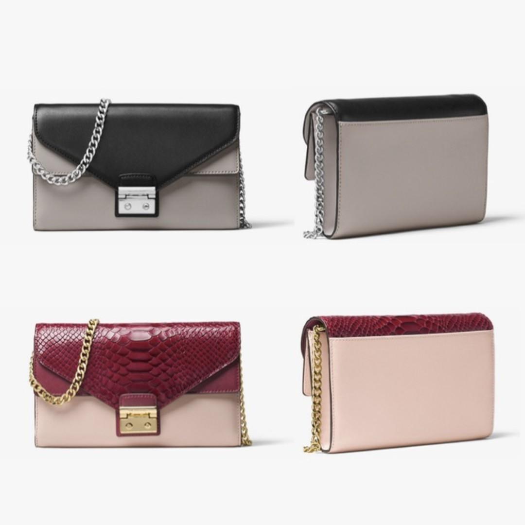 85cf95e7629b Michael Michael Kors Sloan Color-Block Leather Chain Wallet