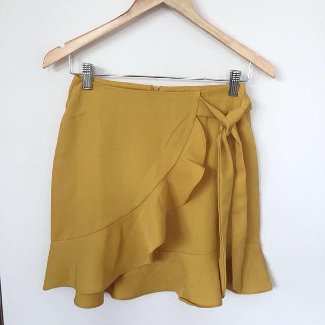 Mustard Bell Zip Skirt w Tie Side