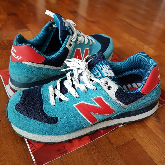 New Balance 574 Classic Blue and Red