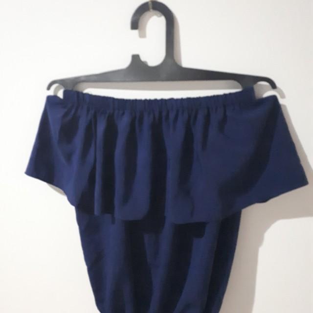 Off-shoulder blue top