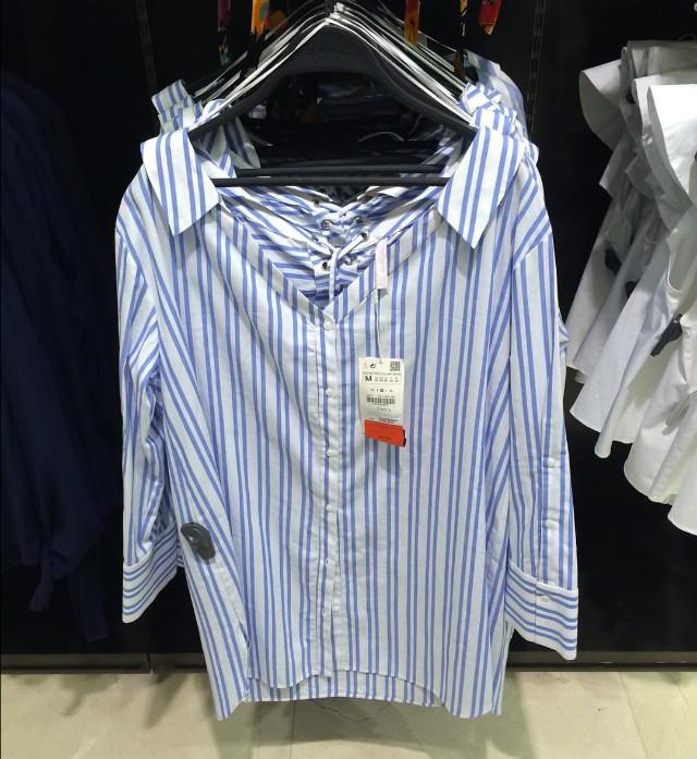 Original Zara Blue Stripes Shirt