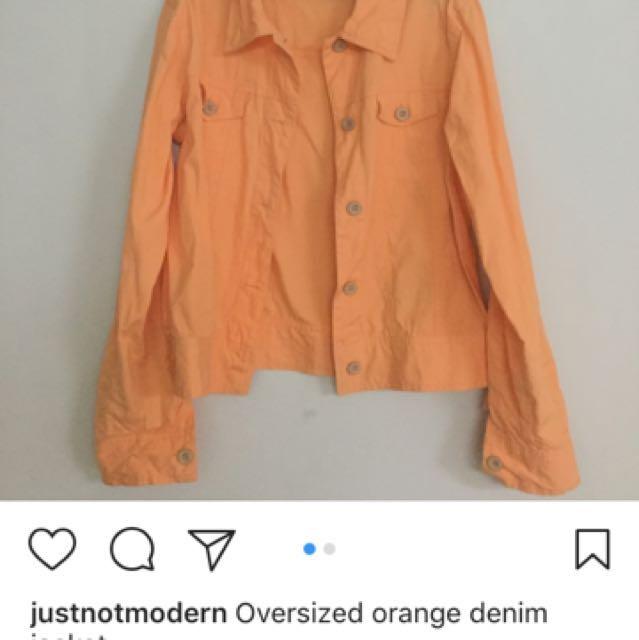 Oversized orange denim jacket