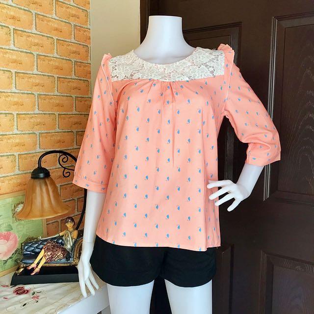 Peach w/ Lace Detail Top