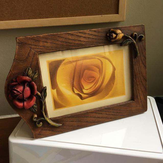 Photo Frame Wood Floral Flower Wooden