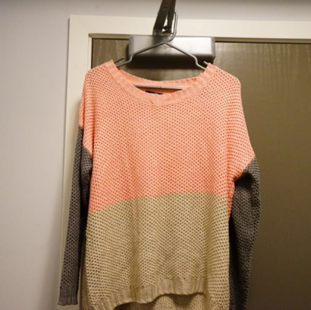 Pink and brown sweater Size M
