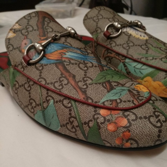 40df6c94e Authentic GUCCI Princetown' Floral Print Mule Loafer, Luxury ...