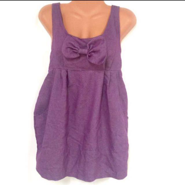Purple Denim-Like Top with Ribbon