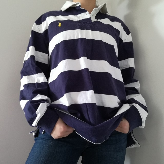 RALPH LAUREN NAVY/WHITE STRIPED RUGBY SHIRT SIZE LARGE