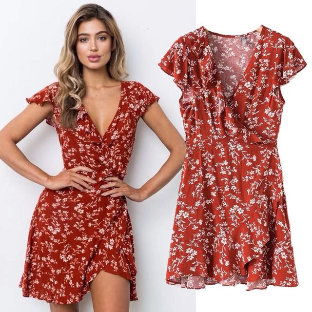 Red Floral Wrap Ruffle Tie Dres