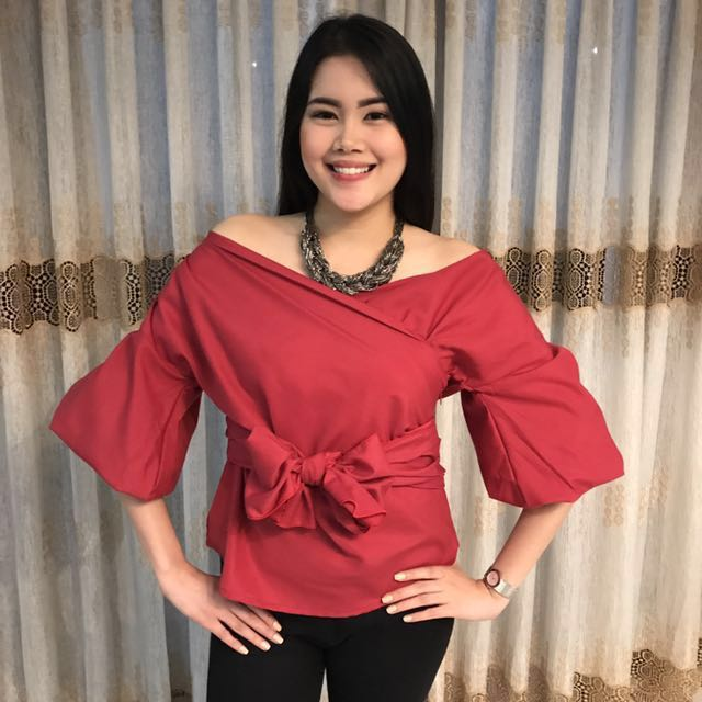 Red off shoulder with ribbon