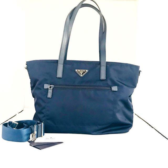 REPRICE PRADA 2way Navy Tote Bag Authentic