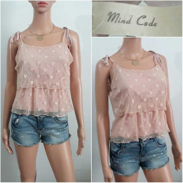 (S) Mind Code pink string strap top