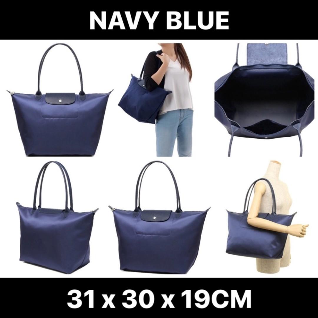SALE Longchamp Le Pliage Neo Long Handle Large Navy Blue 1899 578 ... 0389b171e1020