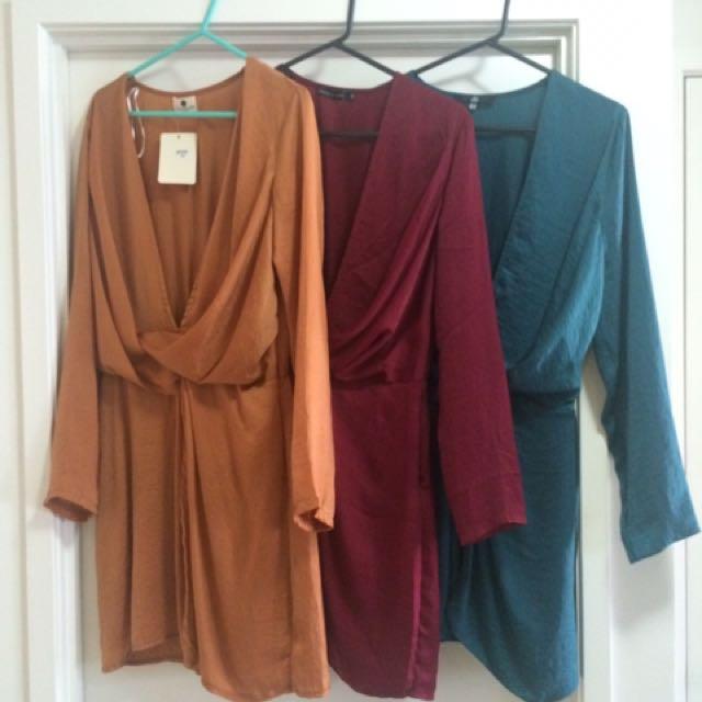 Satin tie / knot front dress