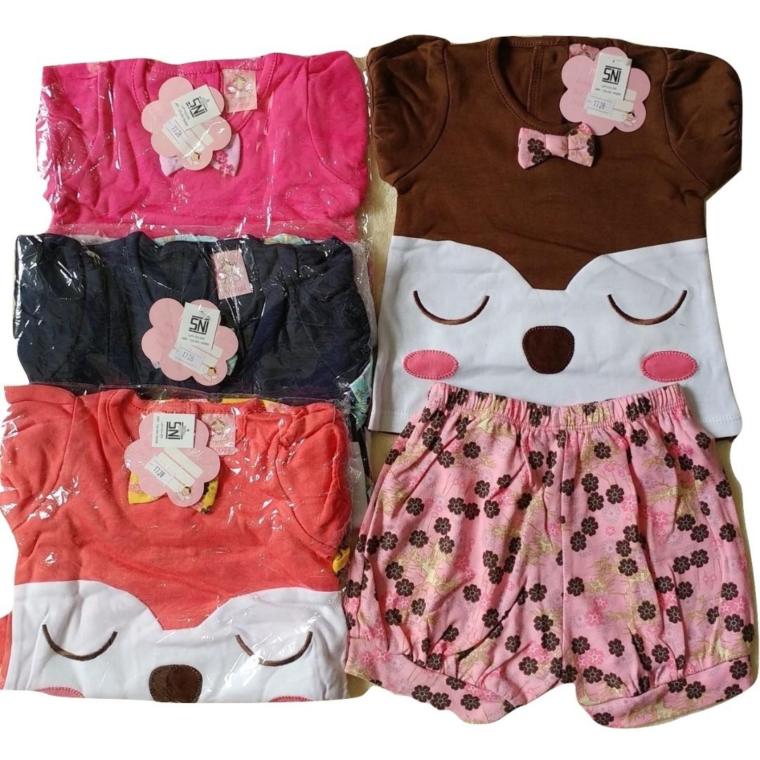 Setelan Baju Baby Bayi Mi angel Kucing Pita 6-14 Months - SNI STANDART