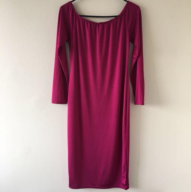 ⚫️Size 12 Boohoo OffShoulder Midi Dress Stretch