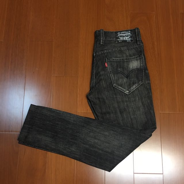 (size 34/34版偏小) Levi's 511黑皮標黑釦赤耳修身牛仔褲