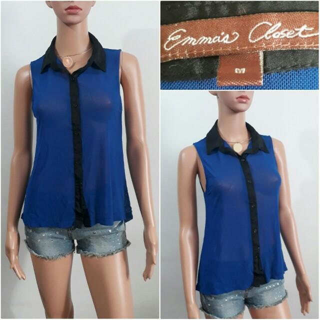 (S-M)  Emma's Closet blue top