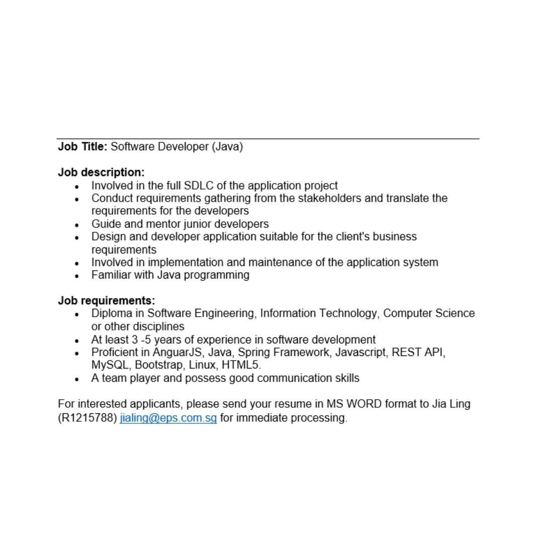 Software Developer(JAVA), Jobs, Computer & IT on Carousell