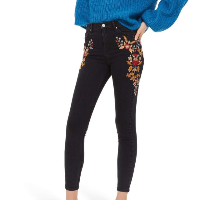 Topshop Jamie Embroidered High Waist Jeans