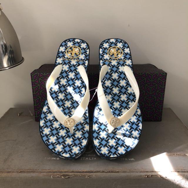 Tory Burch Wedge Flip Flops Sandals Size 7