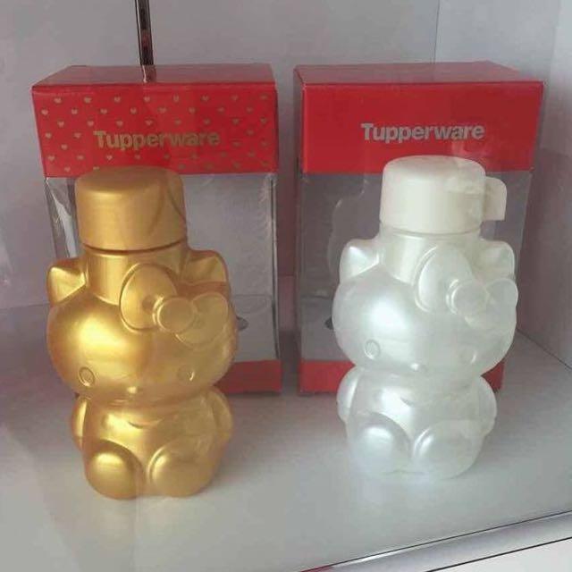3a94d5bc8 Tupperware Prosperity Hello Kitty Pearl White & Gold Water Bottle 425ml,  Babies & Kids, Nursing & Feeding on Carousell