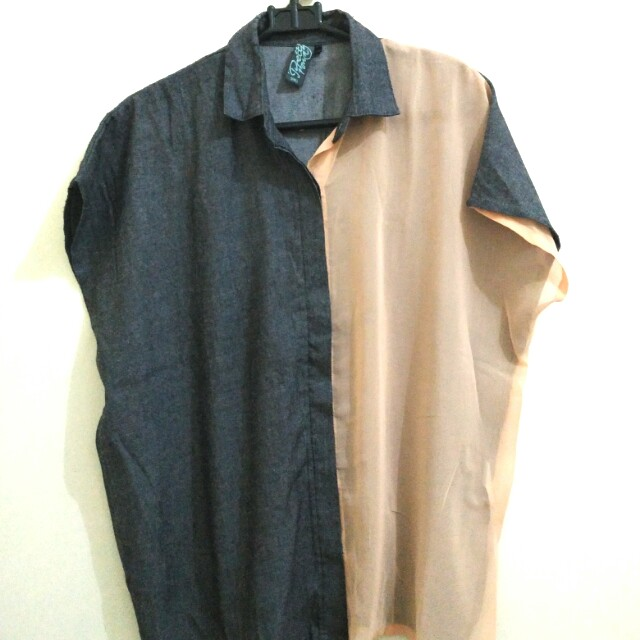 Local Brand Two-Colors Shirt (kemeja dua warna side)