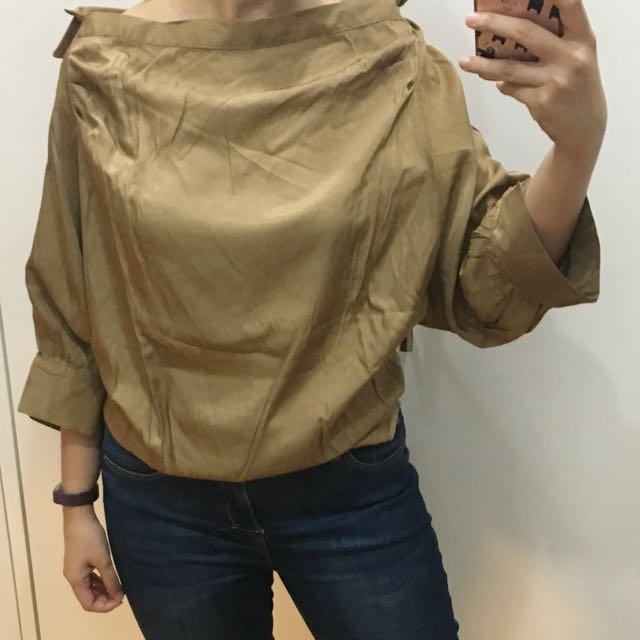Unarosa Brown Puff sleeve top