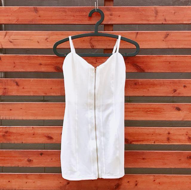 純白性感拉鍊細肩帶v領派對禮服緊身小洋裝