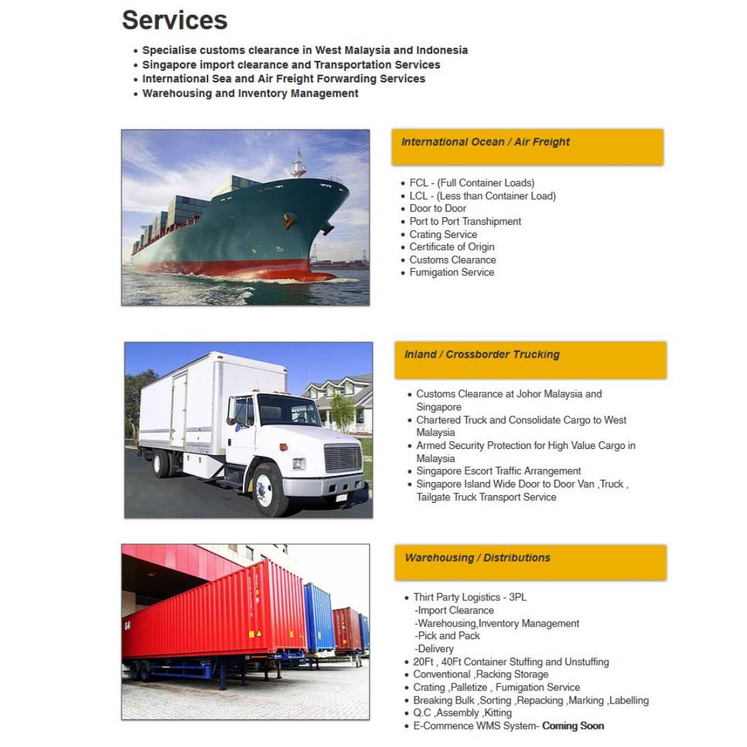 Logistics Service - Transport/Warehousing/Import Clearance