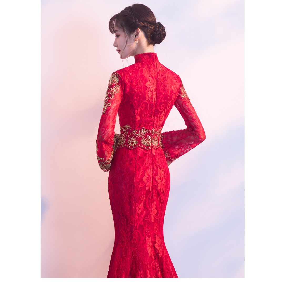Gown Collection - Traditional Cheongsam Style Long Sleeves Slim Fit ...