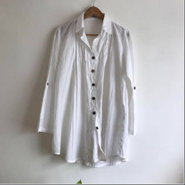 White Korean Oversized  Long Blouse