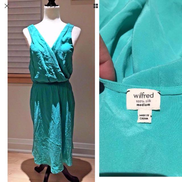 Wilfred Aritzia silk green dress Sz medium