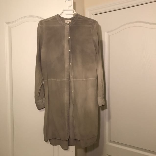 Wilfred Long Silk Button Up Dress/Top