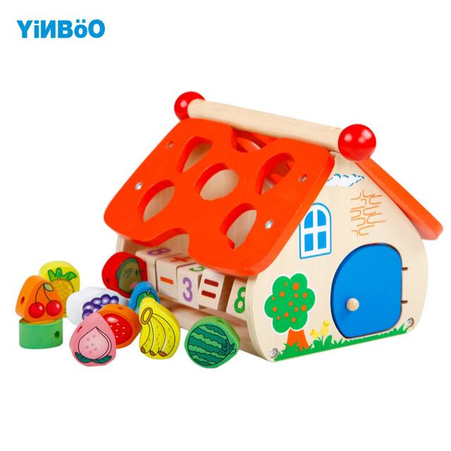 Wooden house multi educational toy