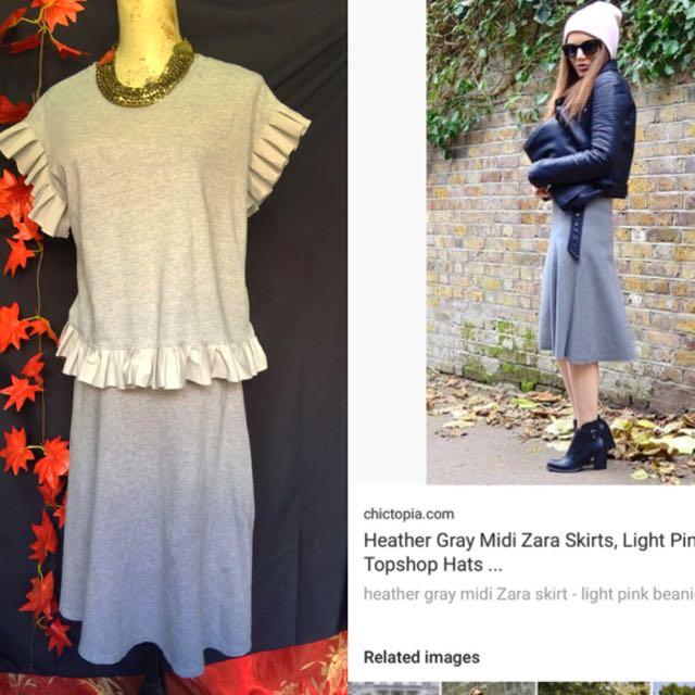 Zara midi skirt/korean top set size s-med