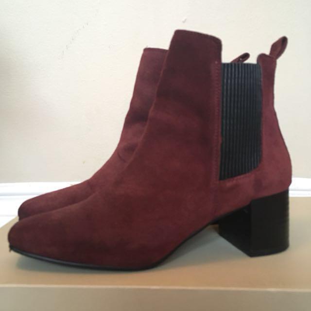 Zara red velvet boots