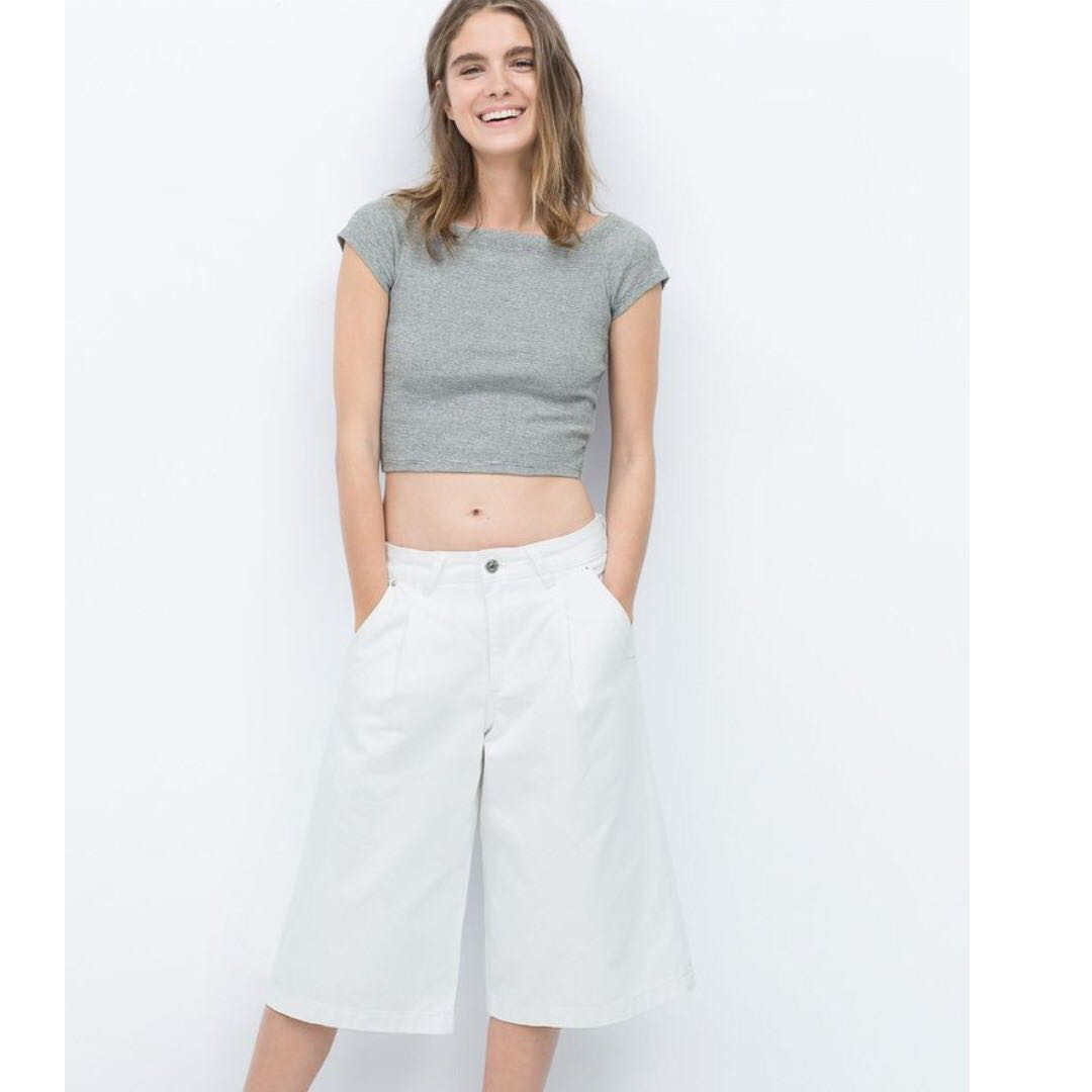 Zara White Denim Culottes