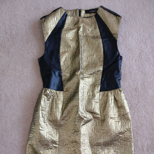 Zeitgeist metallic dress with leather panel gold