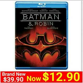 Brand New] BATMAN & ROBIN BLU-RAY DISC.  UP: $39.90  Special Offer: $12.90 + Free mail postage ( Brand New & Sealed)Whatspp 85992490 to collect today. Last piece left