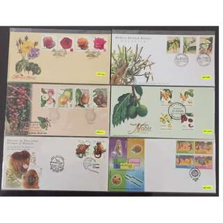 Malaysia package of 6 first day covers