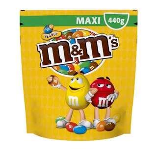 M&M Peanut Maxi Chocolate Pouch 430g