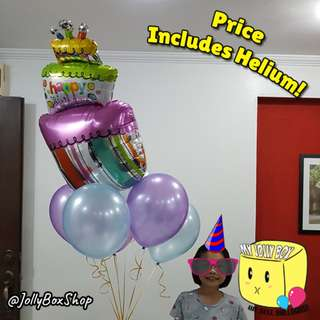🎈6 Balloons & 1 Wacky 3 Tier Cake Balloon | Helium Filled | Party Deco | Birthday Deco | My Jolly Box 98573128