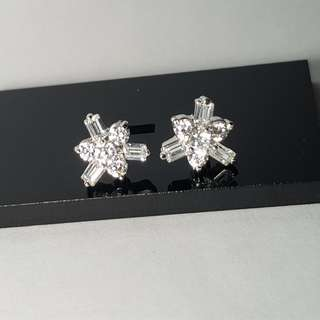 Anting Star Cubic Zirconia White Gold Plated